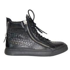 Giuseppe Zanotti Black Croc London High Top Autographed Sneakers (43.5 EU)