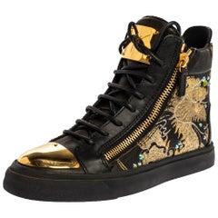 Giuseppe Zanotti Black Dragon Leather Double Zip High Top Sneakers Size 37