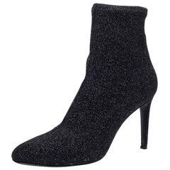 Giuseppe Zanotti Black Glitter Stretch Fabric Pointed Toe Ankle Boots Size 41