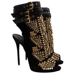 Giuseppe Zanotti Black Gold Studded Stiletto Cut-Out Boots 39.5