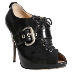 GIUSEPPE ZANOTTI black lace up buckled mirrored heels booties EU38 US8 UK5