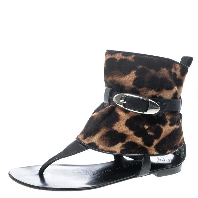 74b5f837f33bd Giuseppe Zanotti Black Leather and Leopard Print Hair On Buckle Detail Flat  Sand For Sale