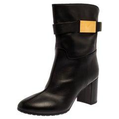 Giuseppe Zanotti Black Leather Block Heel Ankle Booties Size 38