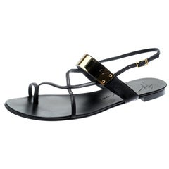 ac4990f1568d1 Giuseppe Zanotti Black Leather Cross Strap Flat Sandals Size 40