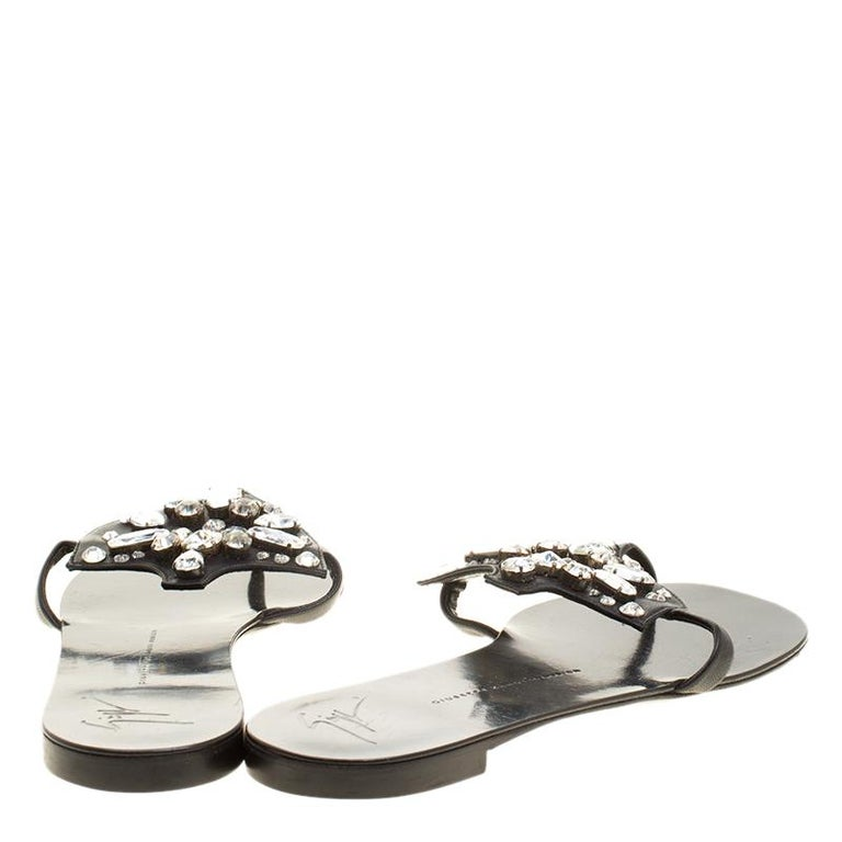 bddb2f44be9d Beige Giuseppe Zanotti Black Leather Crystal Embellished Flat Sandals Size  42 For Sale