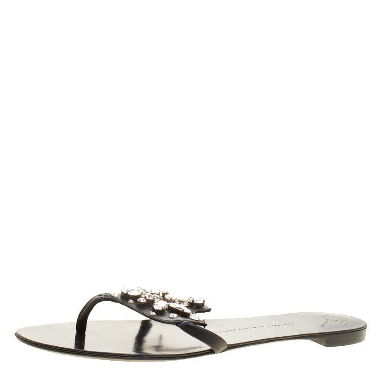 86a01244bb68f Giuseppe Zanotti Black Leather Crystal Embellished Flat Sandals Size 42 For  Sale