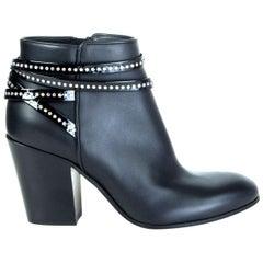 GIUSEPPE ZANOTTI black leather EMBELLISHED Ankle Boots Shoes 37