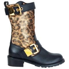 GIUSEPPE ZANOTTI black leather GOLD LEOPARD CALF HAIR Boots Shoes 37