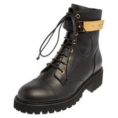 Giuseppe Zanotti Black Leather Kommando Combat Boots Size 40