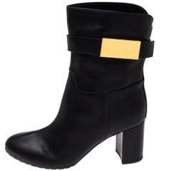 Giuseppe Zanotti Black Leather Logo Plaque Ankle Boots Size 37