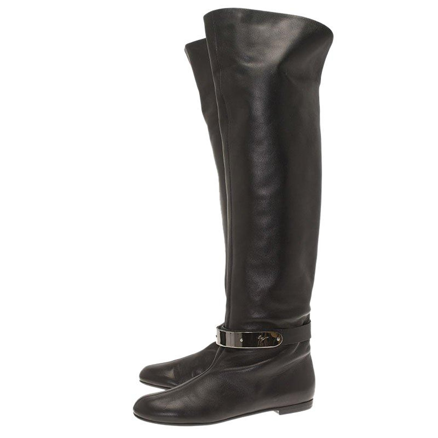 9acb4277554f7 Giuseppe Zanotti Black Leather Logo Plaque Flat Over the Knee Boots Size 41  For Sale at 1stdibs