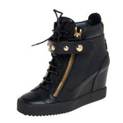 Giuseppe Zanotti Black Leather Lorenz Wedge Sneakers Size 39