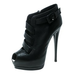 Giuseppe Zanotti Black Leather Peep Toe Platform Ankle Boots Size 37