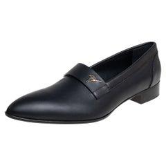 Giuseppe Zanotti Black Leather Slip On Loafers Size 44