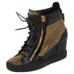 Giuseppe Zanotti Black Leather Studded High Top Wedge Sneakers 36.5