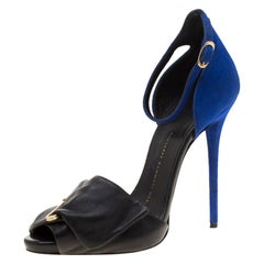 Giuseppe Zanotti Black Leather Suede Safety Pin Ankle Strap Sandals Size 37