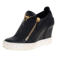Giuseppe Zanotti Black Leather Wedge Sneakers Size 36
