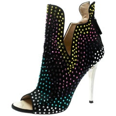 Giuseppe Zanotti Black Multicolor  Embellished Suede Ankle Booties Size 39