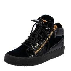Giuseppe Zanotti Black/Navy Blue Velvet High Top Sneakers Size 40