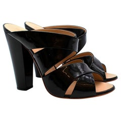 Giuseppe Zanotti Black Patent Leather Heeled Mules - Size 40