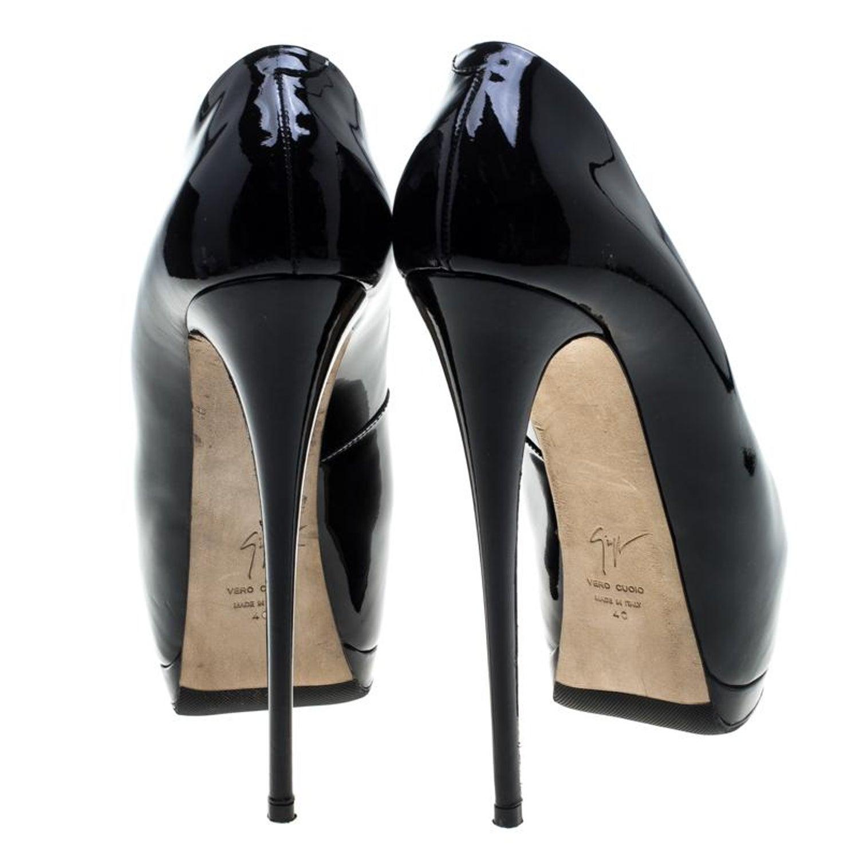 b43870320e181 Giuseppe Zanotti Black Patent Leather Peep Toe Platform Pumps Size 40 For  Sale at 1stdibs