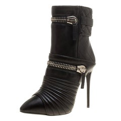 Giuseppe Zanotti Black Quilted Leather Double Zip Accent Boots Size 35