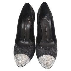 Giuseppe Zanotti Black Silver Glitter Decollete