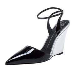 Giuseppe Zanotti Black/Silver Patent Leather Wedge Pointed Toe Pumps Size 40