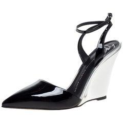 Giuseppe Zanotti Black/Silver Patent Leather Yvette  Pointed Toe Pumps Size 38