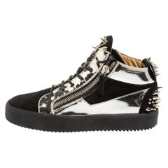 Giuseppe Zanotti Black/Silver Suede and Patent Leather Mid Top Sneakers Size 40