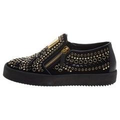 Giuseppe Zanotti Black Stud Embellished Suede Eve Slip On Sneakers Size 40