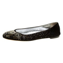 Giuseppe Zanotti Black Suede and Crystal Embellished Ballet Flats Size 39
