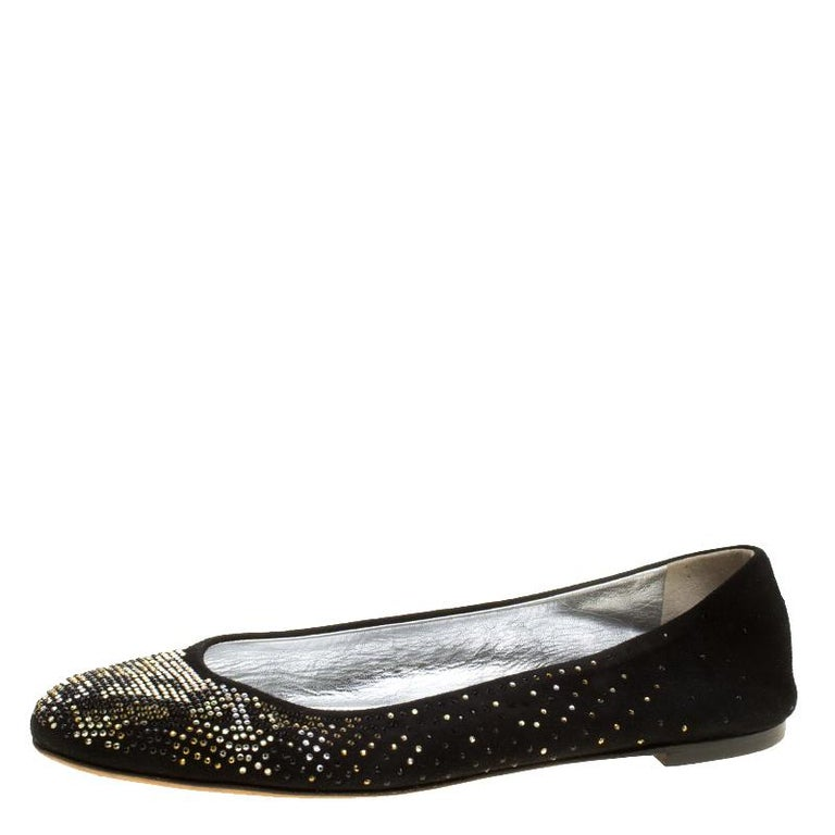 575b6fc977a Shimmer away in these ballet flats from Giuseppe Zanotti! Beautifully  crafted from suede and embellished