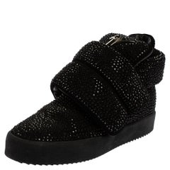 Giuseppe Zanotti Black Suede and Crystal Embellished Mid Top Sneakers Size 41