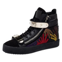 Giuseppe Zanotti Black Suede And Leather Crystal Embellished High Top Size 40