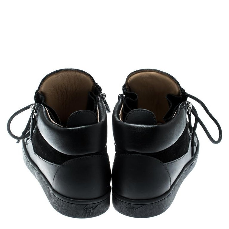 Giuseppe Zanotti Black Suede And Leather High Top Sneakers Size 37 In New Condition For Sale In Dubai, Al Qouz 2