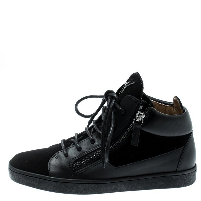 Giuseppe Zanotti Black Suede And Leather High Top Sneakers Size 37 For Sale 1