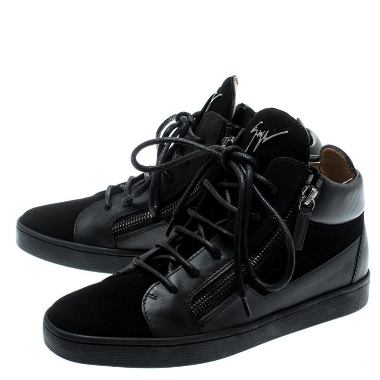 Giuseppe Zanotti Black Suede And Leather High Top Sneakers Size 37 For Sale 2