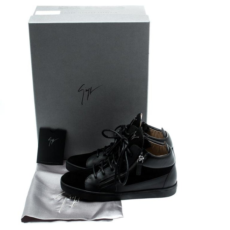 Giuseppe Zanotti Black Suede And Leather High Top Sneakers Size 37 For Sale 4
