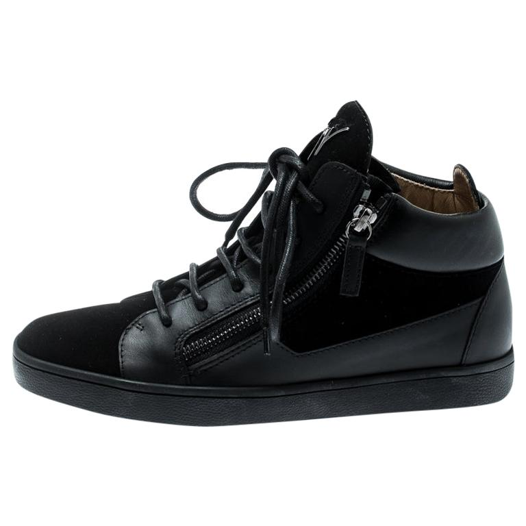 c18a6745f5b00 Giuseppe Zanotti Black Suede And Leather High Top Sneakers Size 37 For Sale