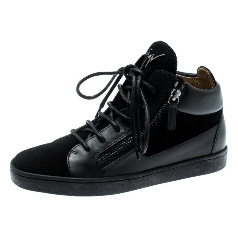 Giuseppe Zanotti Black Suede And Leather High Top Sneakers Size 37 For Sale