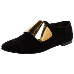 Giuseppe Zanotti Black Suede Embellished Slip On Oxford Size 41