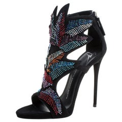 Giuseppe Zanotti Black Suede Leather Swarovski Embellished Ankle Sandals Size 39