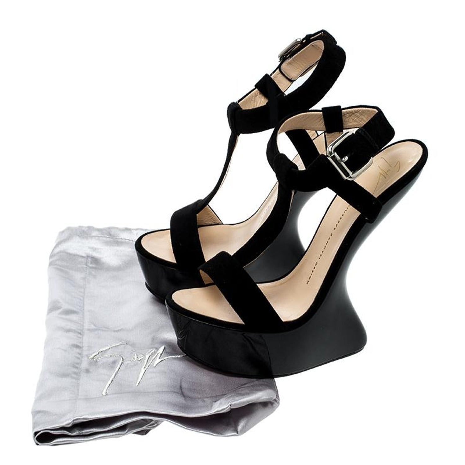 9326ed1a9051 Giuseppe Zanotti Black Suede T Strap Platform Heel Less Wedge Sandals Size  40 For Sale at 1stdibs