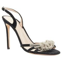 GIUSEPPE ZANOTTI Blossom SS19 black suede crystal knot strap sling sandal EU39
