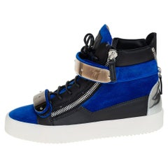 Giuseppe Zanotti Blue/Black Velvet And Leather Coby High Top Sneakers Size 40