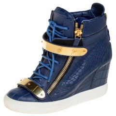 Giuseppe Zanotti Blue Croc Embossed Leather High Top Sneakers Size
