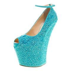 Giuseppe Zanotti Blue Crystal Suede Heelless Peep Toe Platform Pumps Size 37