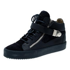 Giuseppe Zanotti Blue Leather and Suede Mid Top Sneakers Size 41