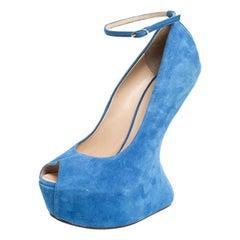 Giuseppe Zanotti Blue Suede Heelless Peep Toe Platform Pumps Size 40